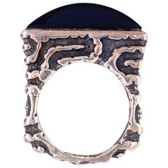 Dian Malouf  Designer Onyx and Sterling Silver and Gold Band Ring Estate Find
