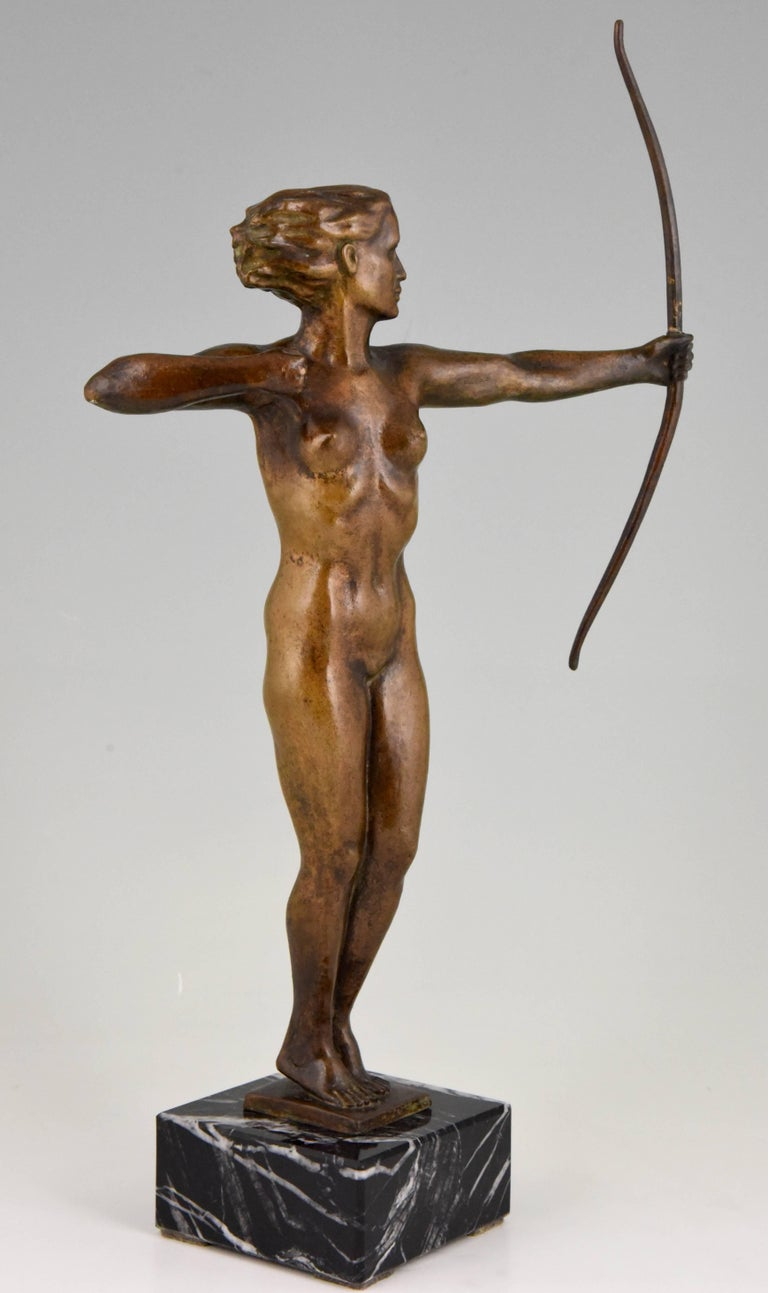 Diana, Art Deco Bronze Sculpture Nude with Bow, V. H. France, 1930 For Sale 5