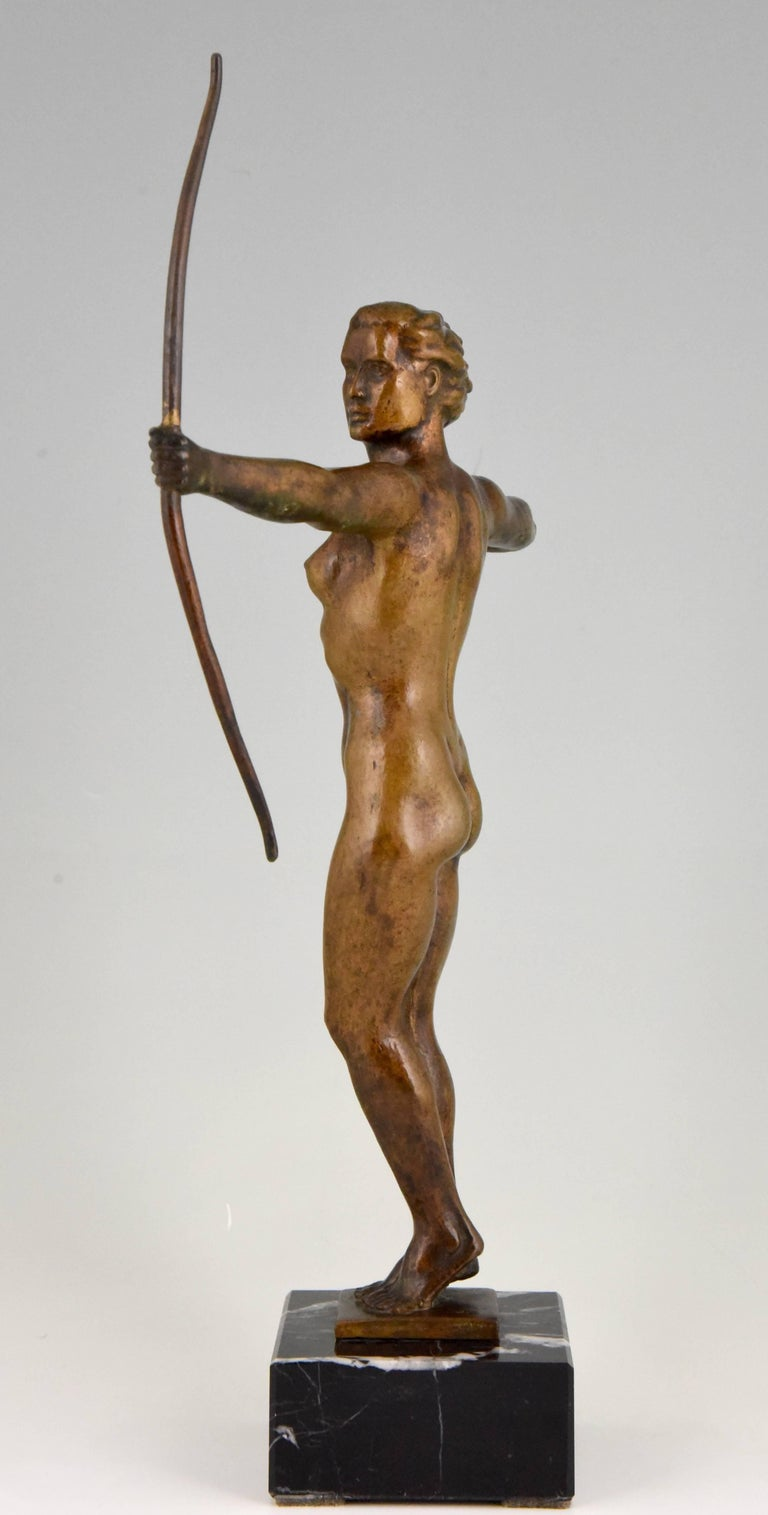20th Century Diana, Art Deco Bronze Sculpture Nude with Bow, V. H. France, 1930 For Sale
