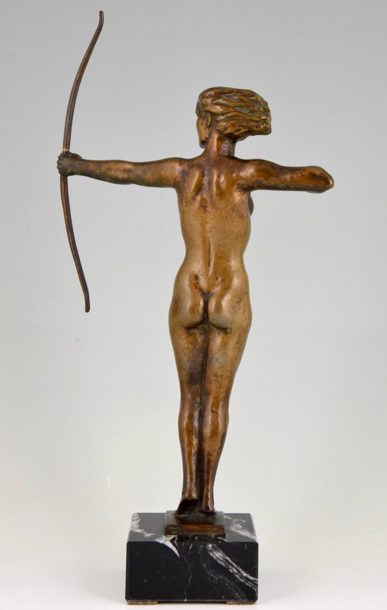 Diana, Art Deco Bronze Sculpture Nude with Bow, V. H. France, 1930 For Sale 2