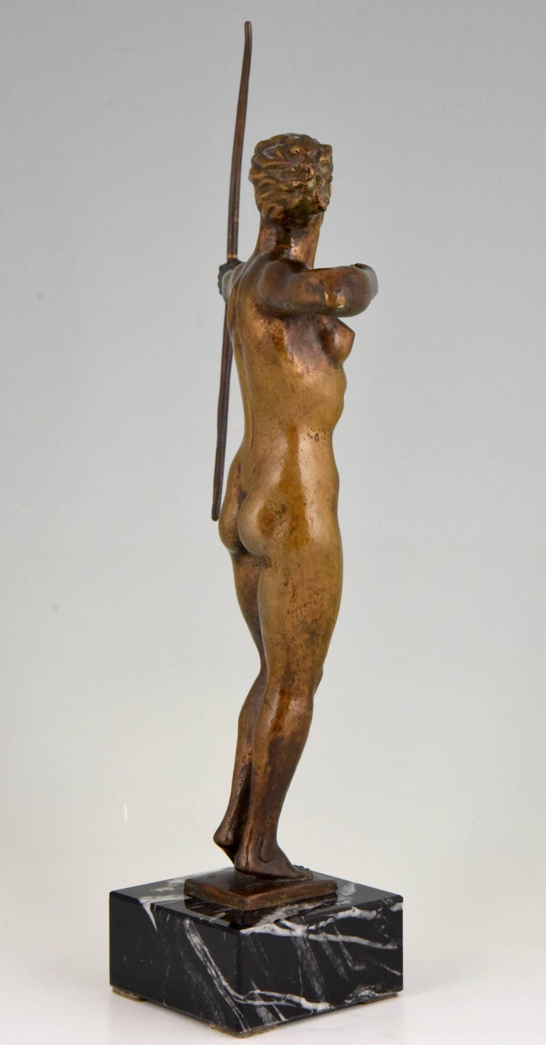 Diana, Art Deco Bronze Sculpture Nude with Bow, V. H. France, 1930 For Sale 3