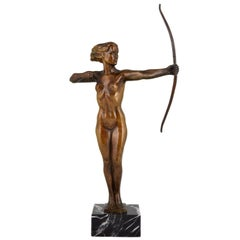 Diana  Art Deco Bronze Sculpture Nude with Bow  V. H. France  1930