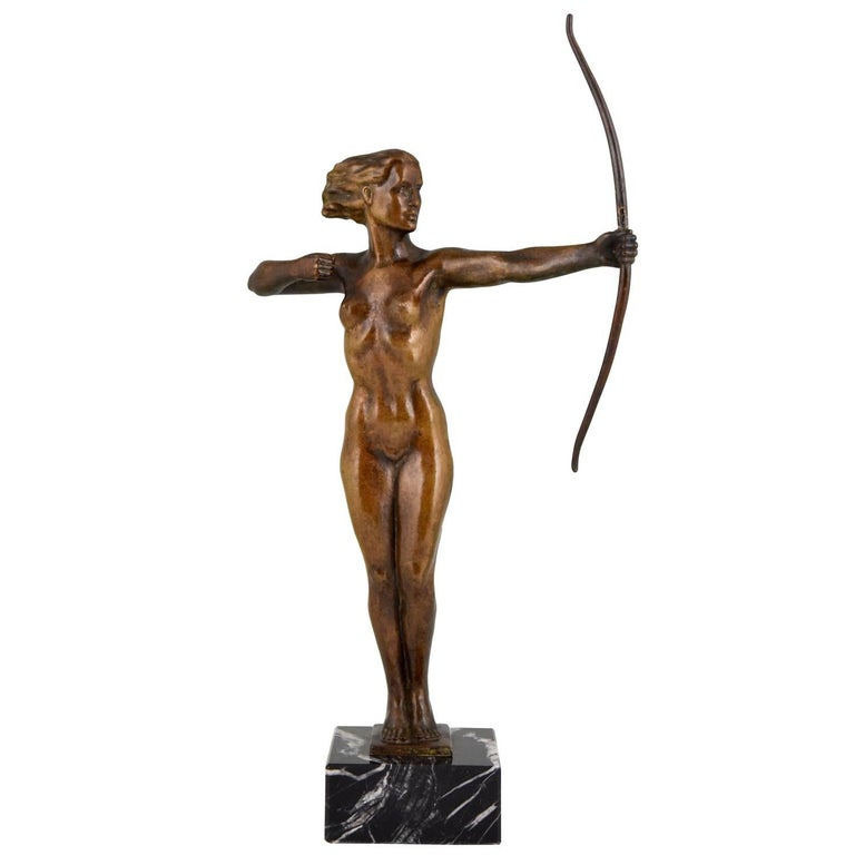 Diana, Art Deco Bronze Sculpture Nude with Bow, V. H. France, 1930 For Sale
