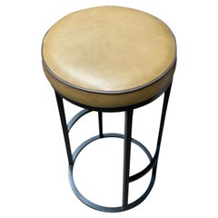 Diana Bar Stool Circular in Steel Powder-Coated and Mousse Tan Leather