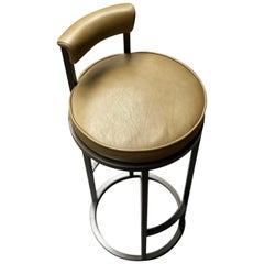 Diana Bar Stool Circular with Back Rest in Steel Powder-Coated & Mousse Leather