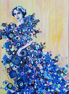 Woman in a Blue Dress, Original Painting