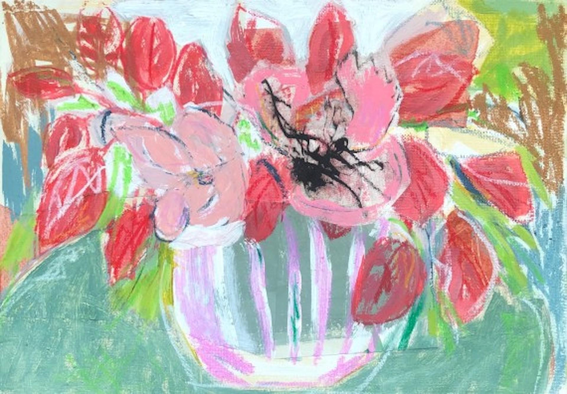 Diana Forbes, Smoke Bush and Anemone, Original Still Life Art, Affordable Art