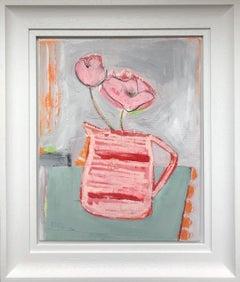 Striped Jug, Diana Forbes, Contempory Framed Canvas Art, Original Painting,