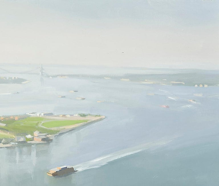 Lower Manhattan and Ferry  - Contemporary Painting by Diana Horowitz