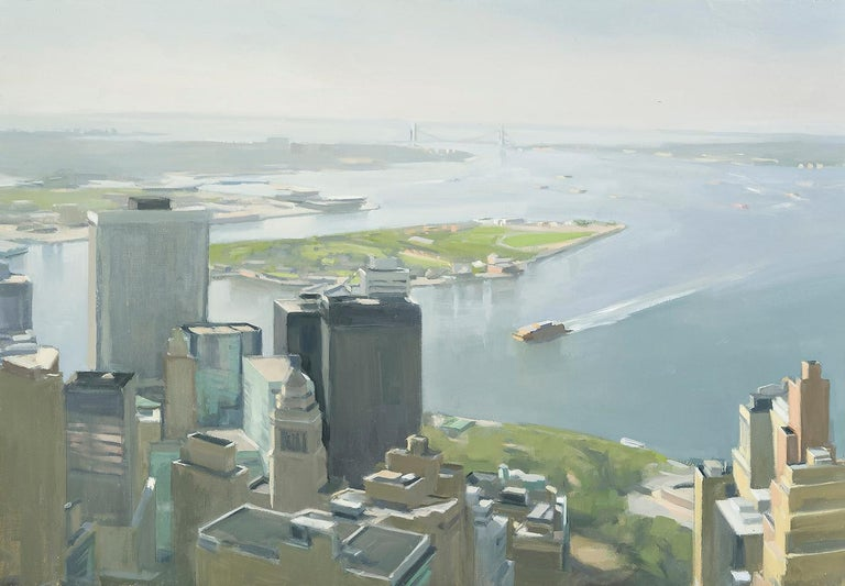 Lower Manhattan and Ferry  - Painting by Diana Horowitz