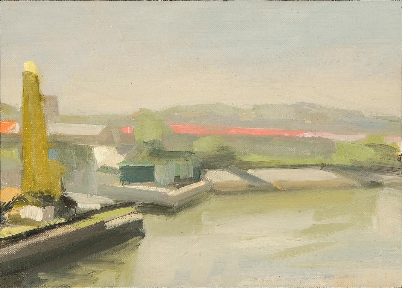 Yellow Crane, Pink Roof