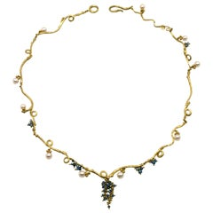 Diana Kim England 18 Karat Twig Necklace with Pearls and Blue Diamond Beads