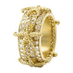 Diana Kim England Nantucket 18k Narrow Spinning Seastar Ring with Diamonds