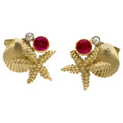 Diana Kim England Starfish, Scallop, Ruby, and Diamond Earrings in 18k