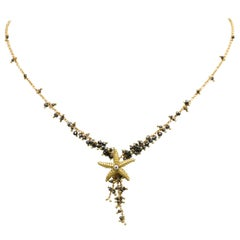 Diana Kim England 18 Karat Starfish Necklace with Faceted Black Diamond Beads