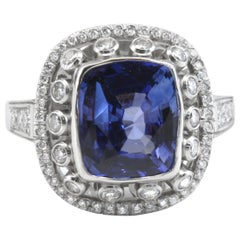 Diana Kim England 5.5 Carat Blue Sapphire and Diamond Ring in Platinum