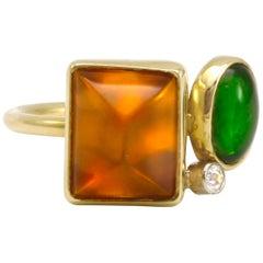 Diana Kim England Stacking Ring, 18 Karat Citrine, Green Tourmaline and Diamonds