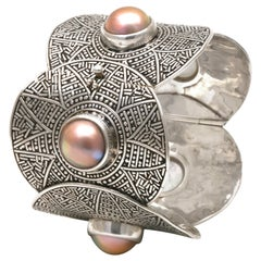 Diana Kim England Aztec Hinged Cuff Bracelet in Sterling with Mabe' Pearls