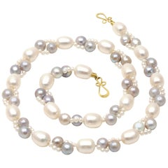 Diana Kim England Blue Akoya, Seed Pearl and Fresh Water Pearl Strand