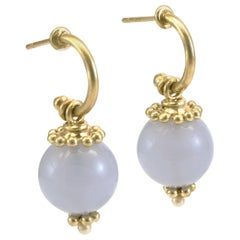 Diana Kim England Blue Chalcedony Drop Hoop Earrings in 18 Karat Gold