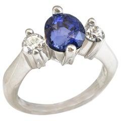 Diana Kim England Blue Sapphire and Diamond Minimalist Ring in Platinum