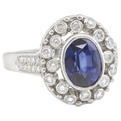 Diana Kim England 4.13 carat Blue Sapphire, Diamond and Platinum Cocktail Ring