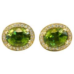 Diana Kim England Burmese Peridot Earrings with Pavé Diamonds in 18 Karat Gold