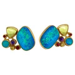Diana Kim England Earrings with Opal, Ruby, Peridot, Amethyst, Yellow Diamonds