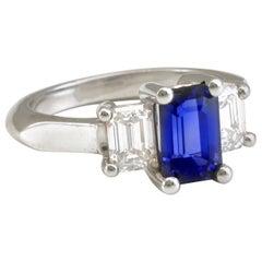 Diana Kim England Emerald Cut Ceylon Blue Sapphire and Diamond Ring in Platinum