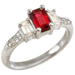 Diana Kim England emerald  Ruby and Diamond Ring in Platinum