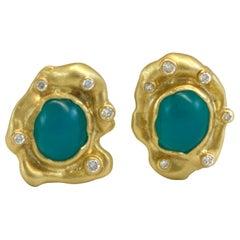 Diana Kim England Gem Chrysocolla and Diamond Earrings in 18 Karat Gold