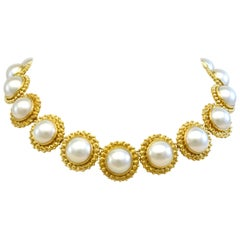 Diana Kim England Gemmy Mabe' Pearl Necklace in 18 Karat Gold