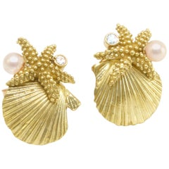 Diana Kim England Gold Scallop Shell, Sea Star, Akoya Pearl and Diamond Earrings