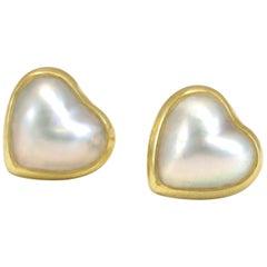 Diana Kim England Heart Shaped Mabe' Pearl Earrings in 18 Karat Gold