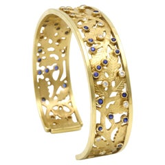 Diana Kim England Heavy 18K, Sapphire, and Diamond Cuff Bracelet, Hand Engraved