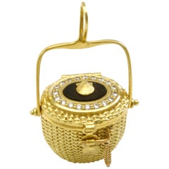 Diana Kim England Nantucket Lightship Locket in 18k Gold with Ebony and Diamonds