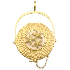 Diana Kim England 18k Nantucket Lightship Basket  Miniature Locket