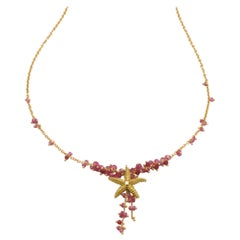 Diana Kim England Seastar Necklace with Pink Sapphire Faceted Beads in 18k Gold