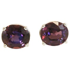 Diana Kim England Sherry Spinel Earrings in White Gold Stones