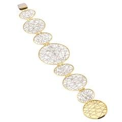 Diana Kim England Spun Platinum and 18 Karat Link Bracelet