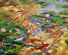 L'etang sous le soleil d'ete, Painting, Oil on Canvas