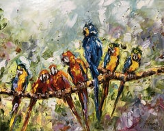Parrots, Painting, Oil on Canvas