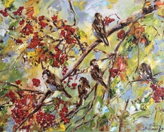 Sparrows in the Rowan-Tree, Painting, Oil on Canvas
