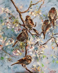 Sparrows, Painting, Oil on Canvas