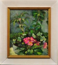Pink Primulas & Pot Plants.Original Still Life Flower Painting. Modern British.