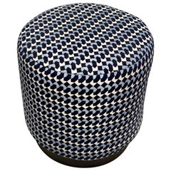 Diana Pouf Upholstered in Belo Fabric and Black Powder Coated Plinth