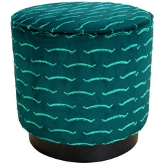 Diana Pouf Upholstered in Nouvelle Vague Velvet with Black Plinth