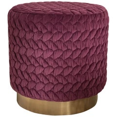 Diana Pouf Upholstered in Velvet Tresse Amethyst with Brass Plinth