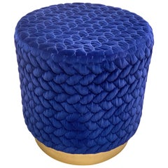 Diana Pouf Upholstered in Velvet Tresse Lapis Blue with Brass Plinth