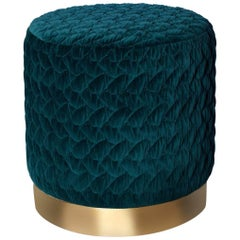 Diana Pouf Upholstered in Velvet Tresse with Brass Plinth